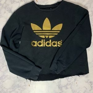 Adidas Originals crop gold logo Crewneck
